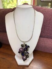 Purple Crystal Dangle Silver Necklace Bohemian Style