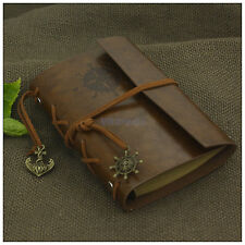 Portable Nautical Retro Leather Notebook Refillable Journal Travel Diary Brown