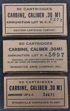"M1 CARBINE WW2 NEW REPLICA 50 ROUND AMMO BOX - SET ""B"" WITH RA, WCC, & EC LABELS"
