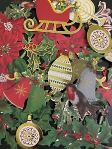 24pc Anna Griffin Card Scrapbooking Christmas Embellishments STICKERS Rare