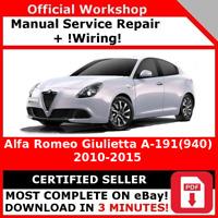 ITALIAN FACTORY WORKSHOP REPAIR MANUAL ALFA ROMEO GIULIETTA A-191 2010-2015