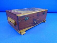 Vintage Wooden Jewelry Trinket Box 11 x 6 x 4