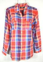 Lauren Ralph Lauren Women's XL Fall Red Cotton Plaid Button Shirt Top Blouse NWT