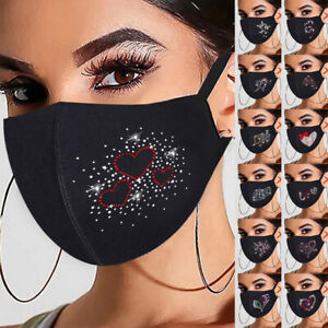 Washable Reusable Face Mask Covering Black Love Heart Sexy Ladies Butterfly#