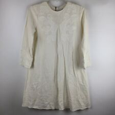 & Other Stories Embroidered Linen Viscose Shift dress Size Us 6 Exposed Zipper