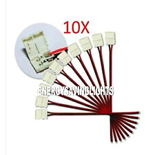 10 x 8mm Female 2 Pin STRAIGHT Connector + Wire For 3528 Led Strip Light