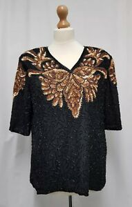 Womens Frank Usher Sequin & Bead Top Size M Black Silk Butterfly Embellished Top