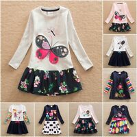 Girls Dress Cotton Tunic Casual Top Long Sleeve Dresses Age  3 4 5 6 7 8 Years