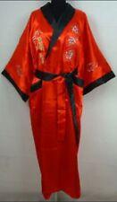 Double-face Chinese Silk/satin Men's Kimono Robe Gown Bathrobe -Red/black