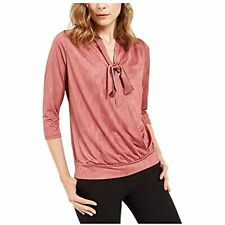 Alfani Women's 3/4 Sleeve Tie Neck Surplice Blouse Top (Pink, L)