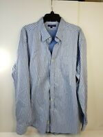 Alan Flusser Long Sleeve Button down Shirt Blue Navy Striped Men's XXL