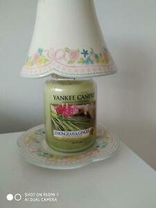 YANKEE CANDLE LARGE 'TEA FLOWER' LARGE SHADE & TRAY IN PERFECT CONDITION