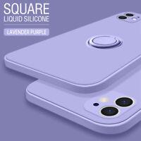Genuine Square Liquid Silicone Case For iPhone 11 Pro Max SE 2020 XR Stand Cover