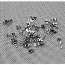 50x Base Orecchini a Perno Retro Ferma Farfalla Placcato Argento Gioielli DIY