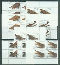 Tanzania 1996 crocodiles     set of 7 in corner blocks of 4 MNH