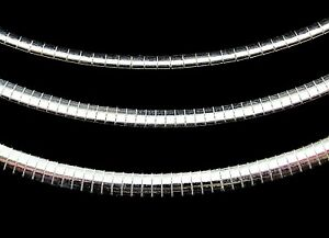 Solid 925 Sterling Silver Italian Flat Omega Chain Choker Necklace Made in Italy