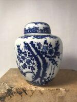"""Vintage Blue White Cherry Blossom Ginger Jar 4.5"""" Porcelain Asian Style"""