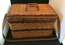Wicker Picnic Basket Set for 2 - Reusable Plates & Cups