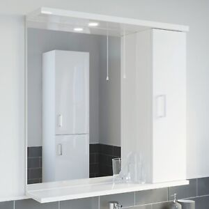 750mm Modern Bathroom Mirror Illuminated White Gloss Shelf Wall Hung Pull Cord