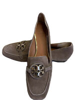 Tory Burch Metal Miller Suede Brown Loafers Size 9