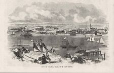 View Chelsea Mass from E Boston Naval Marine Hospital Shipyard Steam Ferry 1856