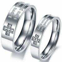 """Silver Stainless Steel CZ """" Love which connect two persons """" Ring Wedding Band"""