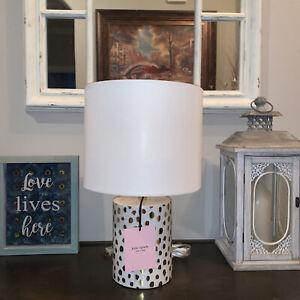 NEW Kate Spade FLAMINGO DOT Table Lamp Gold CHEETAH SPOT Ceramic W Cream Shade