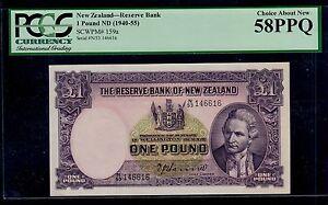 NEW ZEALAND  1  POUND ( 1940-55 )  PICK # 159a PCGS CHOICE ABOUT NEW  PPQ.