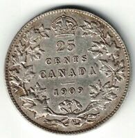 CANADA 1909 TWENTY FIVE CENTS QUARTER KING EDWARD VII STERLING SILVER COIN