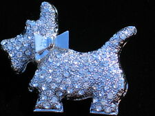 CLEAR RHINESTONES SILVER WESTIE SCOTTIE SCOTTISH TERRIER DOG PIN BROOCH JEWELRY