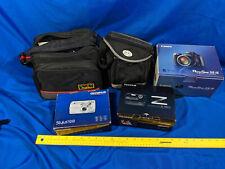 Large Lot Digital Camera VTG Bags Cables Boxes Olympus Nikon HP Parts Untested
