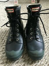 Women's Hunter Rain Boots - Ankle Lace Up/Workboot Style - Black/green Size 8