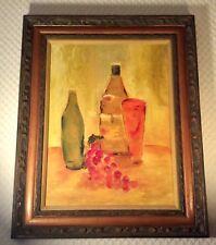 "American School Modernist Still Life Oil on Board Fine Period Frame 31.5 x 25.5"""
