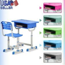 Height Adjustable Kids Children's Study Desk and Chair Set Child Table