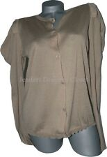 NWT MARNI summer sweater lightweight 44 cotton cardigan ruffle shoulders tan L/S