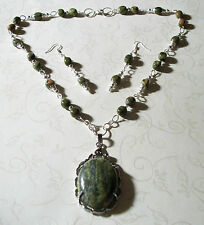 HAND MADE UNAKITE NECKLACE W/YELLOW TURQUOISE PENDANT & EARRINGS