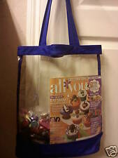 Clear Vinyl Blue Trim Open Top Tote Bag Purse Jelly Beach Shopping Security