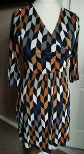 Gorgeous Boden Retro Geometric Dress Size 12P Mini 3/4 Sleeve