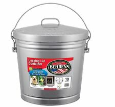 Behrens 6110 10-Gallon Locking Lid Can Bucket Steel Rodent Proof Water Resistant
