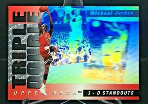 1993 Upper Deck Basketball #TD2 Michael Jordan Triple Double 3-D Standouts Foil