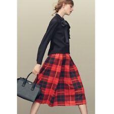 KATE SPADE Red Black Plaid Blaze Trail Midi Skirt