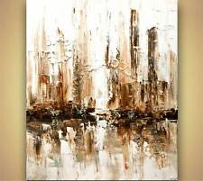 Contemporary abstract city White Painting Modern Palette Knife Art by Osnat