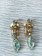 Vintage Aurora Borealis Round with Large Marquise Rhinestone Dangle Clip Earring