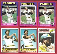DAVE WINFIELD 6 CARD LOT TOPPS 1975 #61 #76 #160 77 #390 MLB BASEBALL