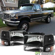1992-1996 Ford Bronco F150 F250 F350 Headlights+Bumper Signal Corner Lamps Pair