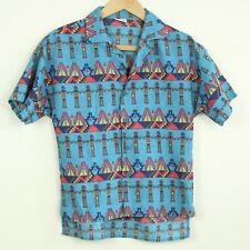 "Vintage Childrens 14 Southwestern Print Shirt Crop Top Xs 34"" chest Aztec 80s"