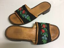STUBBS & WOOTTON BLACK RED & GREEN FLORAL NEEDLEPOINT OPEN SLIDE SANDAL 6 ITALY