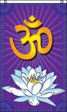 OM Flag 3x5 ft Sanskrit Prayer Banner Hindu Hinduism Lotus Blossom India Aum NEW