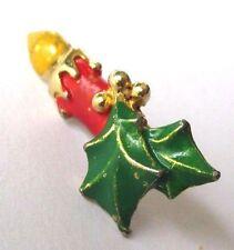 pins bijou rétro broche couleur or bougie  houx émail couleur relief noël 375