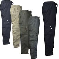 Mens Elasticated Summer Trousers lightweight Cargo Combat Shorts Work Pants NG20